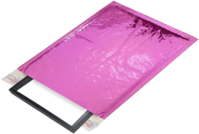 Hot Pink Glamour Mirrored Metallic Foil Self-Seal Bubble Mailers Cushion Padded Envelopes /w Peel & Seal