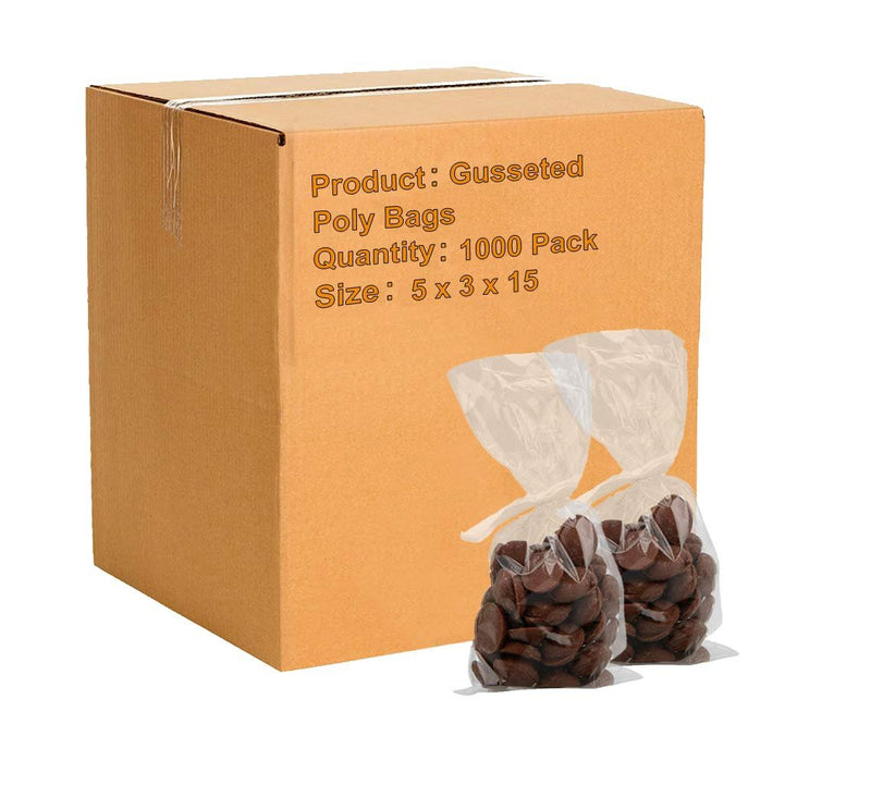 "1000 Pack Clear Gusseted Poly Bags 5"" x 3"" x 15"" 1 Mil"