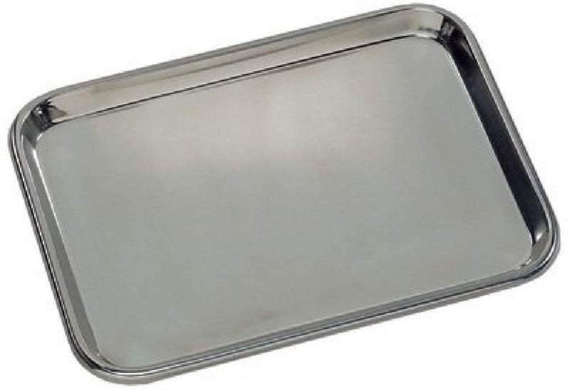 "Seamless Flat Stainless Steel Instrument Tray 16.75"" x 21"" x 0.5"""