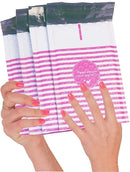 4x7 Pink Stripes Poly Bubble Mailers Padded Envelopes Cushion Envelopes - 25 Pack - AMZSupply.com