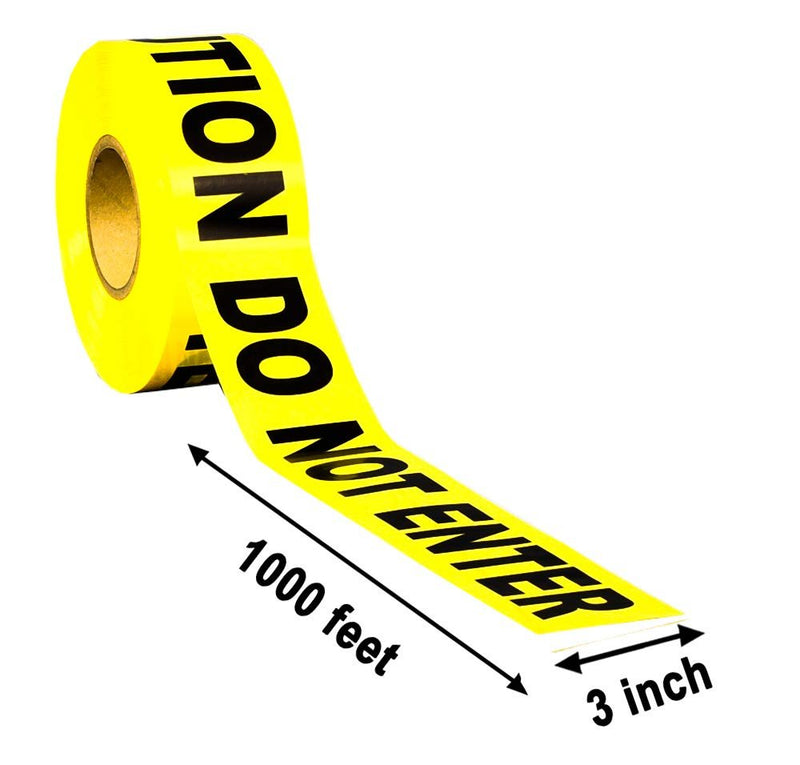 1 Roll Of Barricade Tape. Yellow And Black Caution Do Not Enter Tape 3 Inch Wide, 1000 Feet. Printed Barricade Tape 3 Mil, Barrier Safety Tape