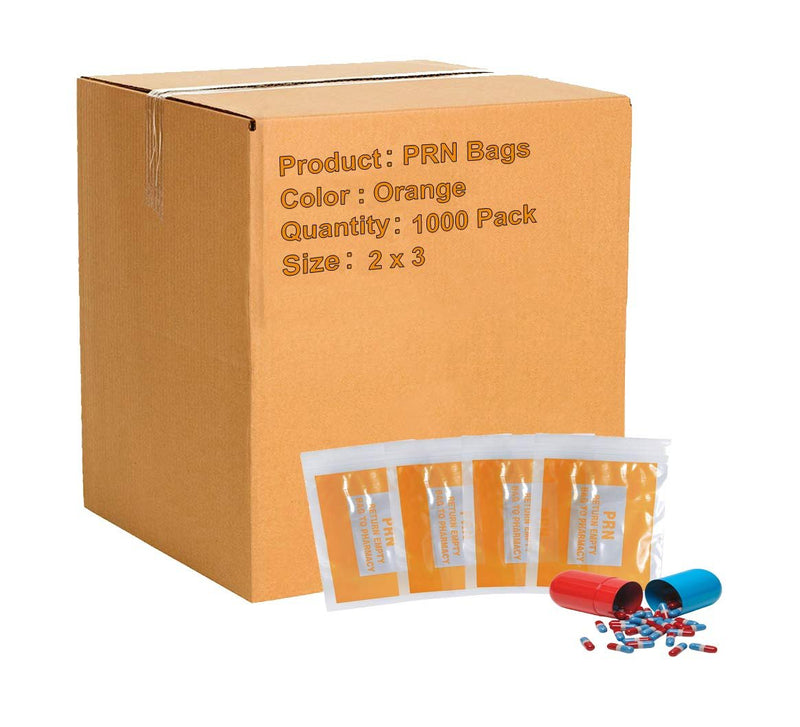 "1000 Pack Clear Orange Poly PRN Bags 2"" x 3"""
