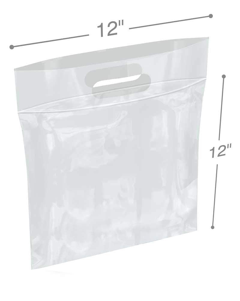 12 x 12 Die Cut Zip Lock Bags Clear Polyethylene Handle Bags 1 Gallon. FDA, USDA Approved, 3 Mil. Reclosable Storage Bags - 500 Pack - AMZSupply.com