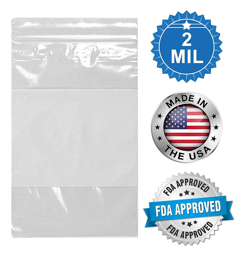 "100 Pack Clear Poly Zip Lock Bags /w Write-On Block 6"" x 9"" 2 Mil"