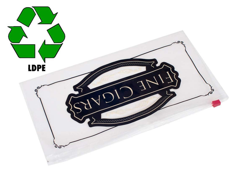 "1000 Pack Clear Poly Slide Seal Lock Cigar Bags 10"" x 5"""