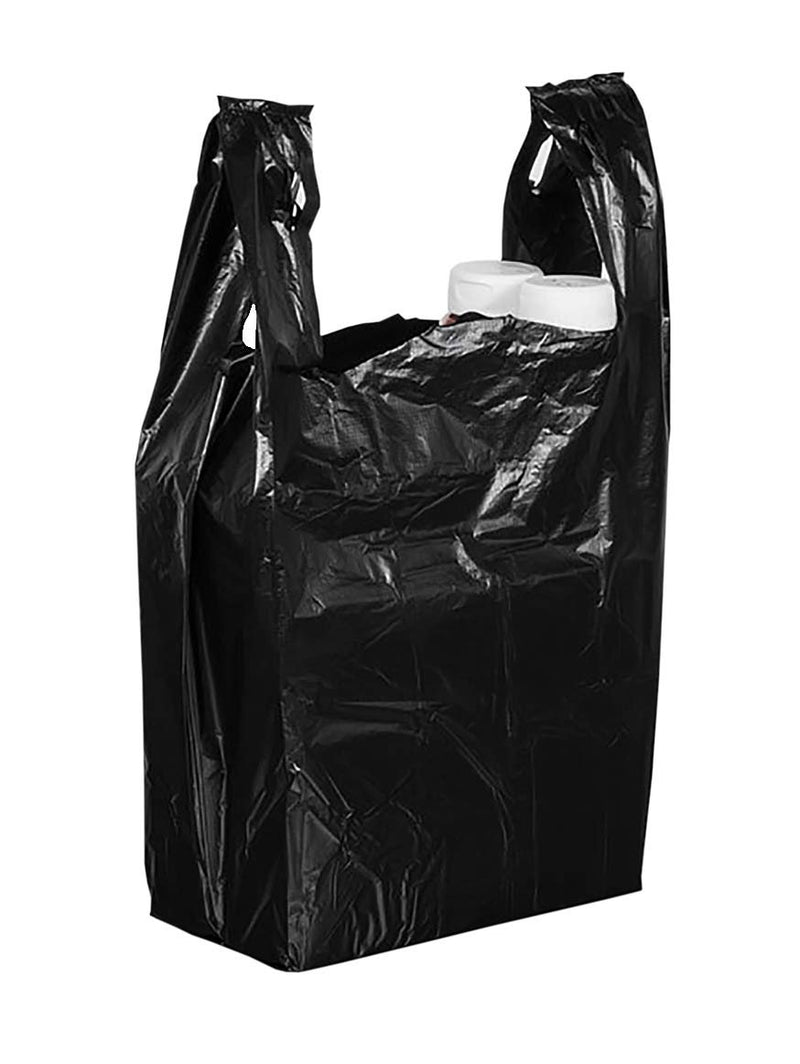 Pack Of 500 Black Plastic Bags 12 X 7 X 23. Plain Carry-Out T-Shirt Bags 12X7X23. Thickness 0.6 Mil. Unprinted Shopping Bags. - AMZ Supply