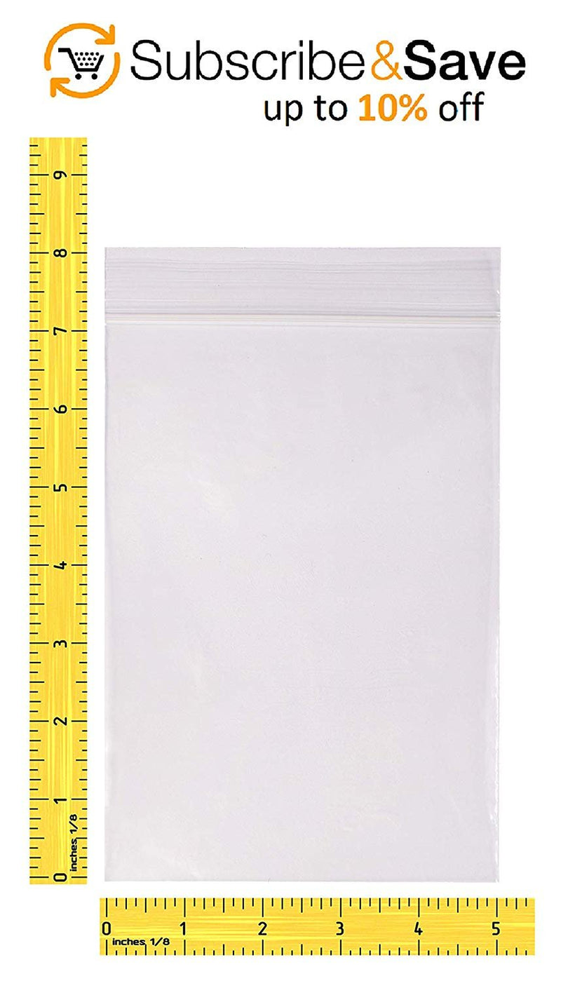 "1000 Pack Clear Poly Zip Lock Top Bags 5"" x 8"" 6 Mil"