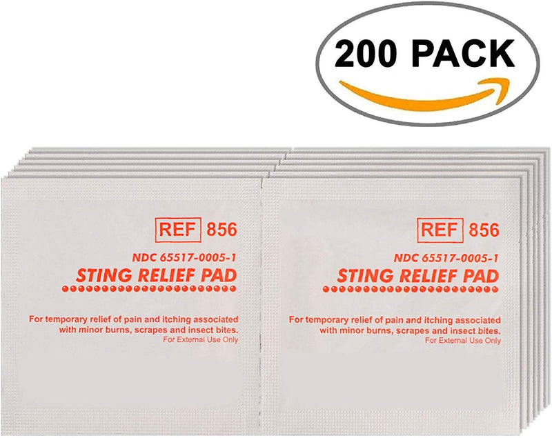 Sting Relief Pads. Case Of 200 Anesthetic Pads For Burns, Scrapes, Insect Bites. Individual Pouches. 6% Benzocaine, 60% Isopropyl Alcohol. 2-Ply - AMZSupply.com