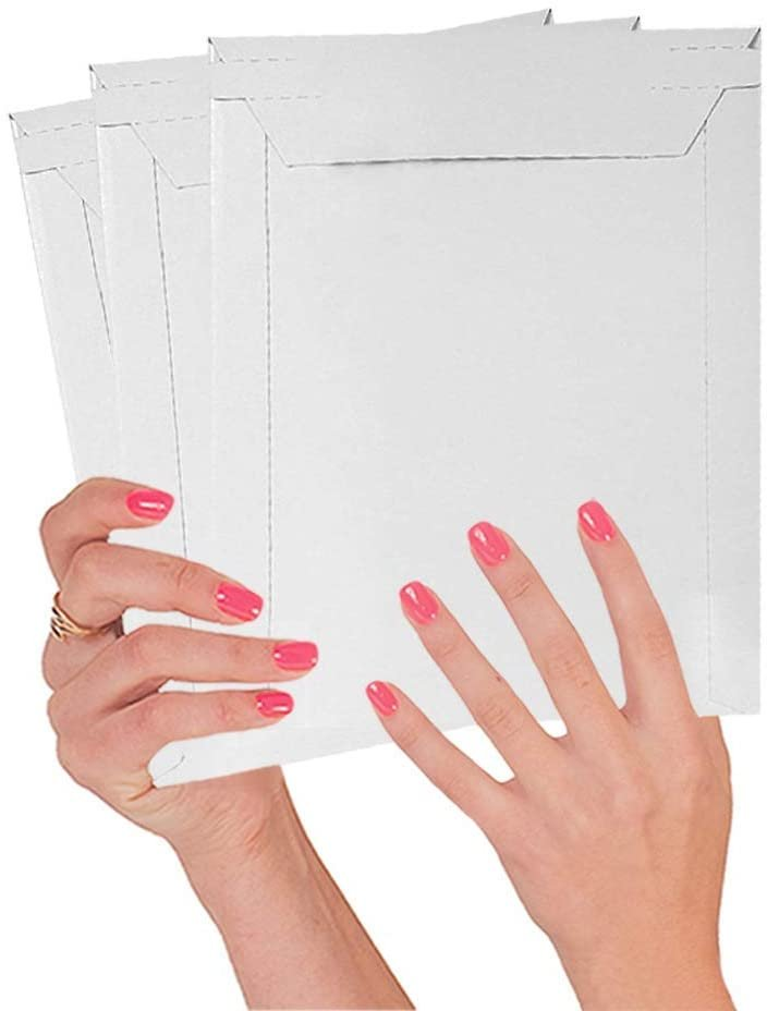 White Mailjacket Rigid Mailers Self-Seal Top-Loading Paperboard Stayflat Envelopes /w Tear Strip
