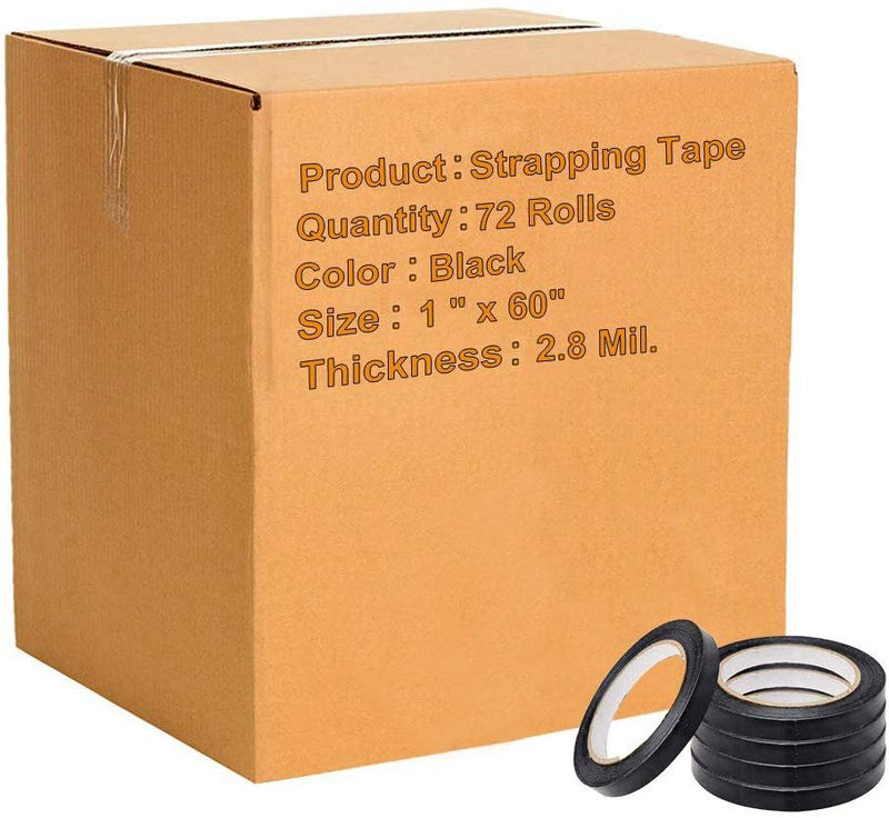 "Black MOPP Film Strapping Tape 2.8 Mil /w Water-Based Acrylic Adhesive 1"" x 60'"