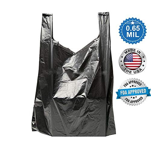 Pack Of 500 Black Plastic Bags 18 X 8 X 28. Plain Carry-Out T-Shirt Bags 18X8X28. Thickness 0.65 Mil. Unprinted Shopping Bags. - AMZ Supply