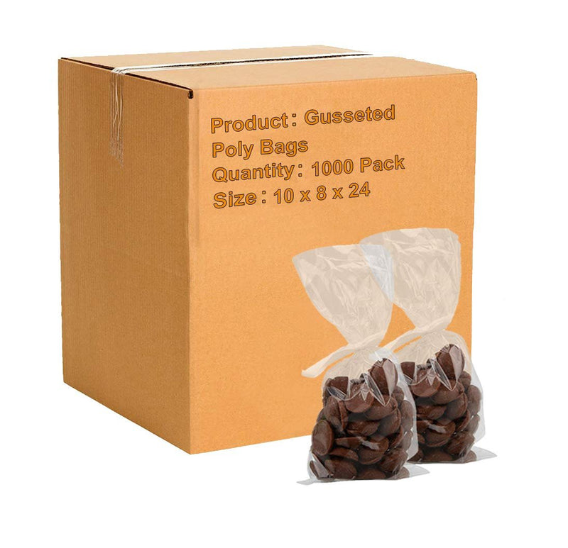 "1000 Pack Clear Poly Gusseted Bags 10"" x 8"" x 24"""