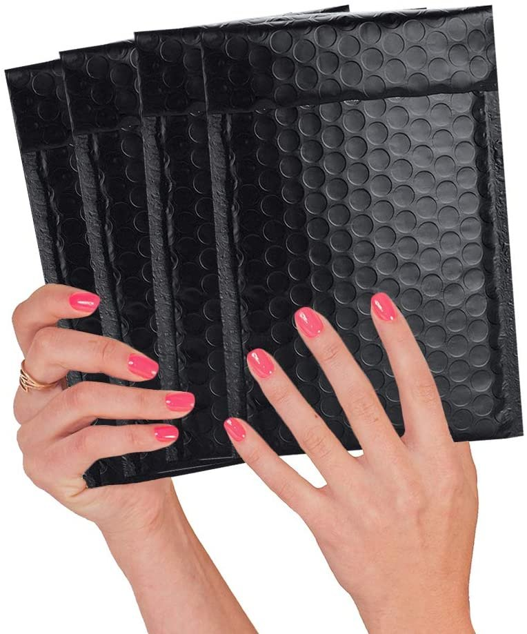 4x7 Black Bubble Mailers Metallic Poly Mailers Matte Colorful Mail Envelopes Padded Envelopes - 25 Pack - AMZSupply.com
