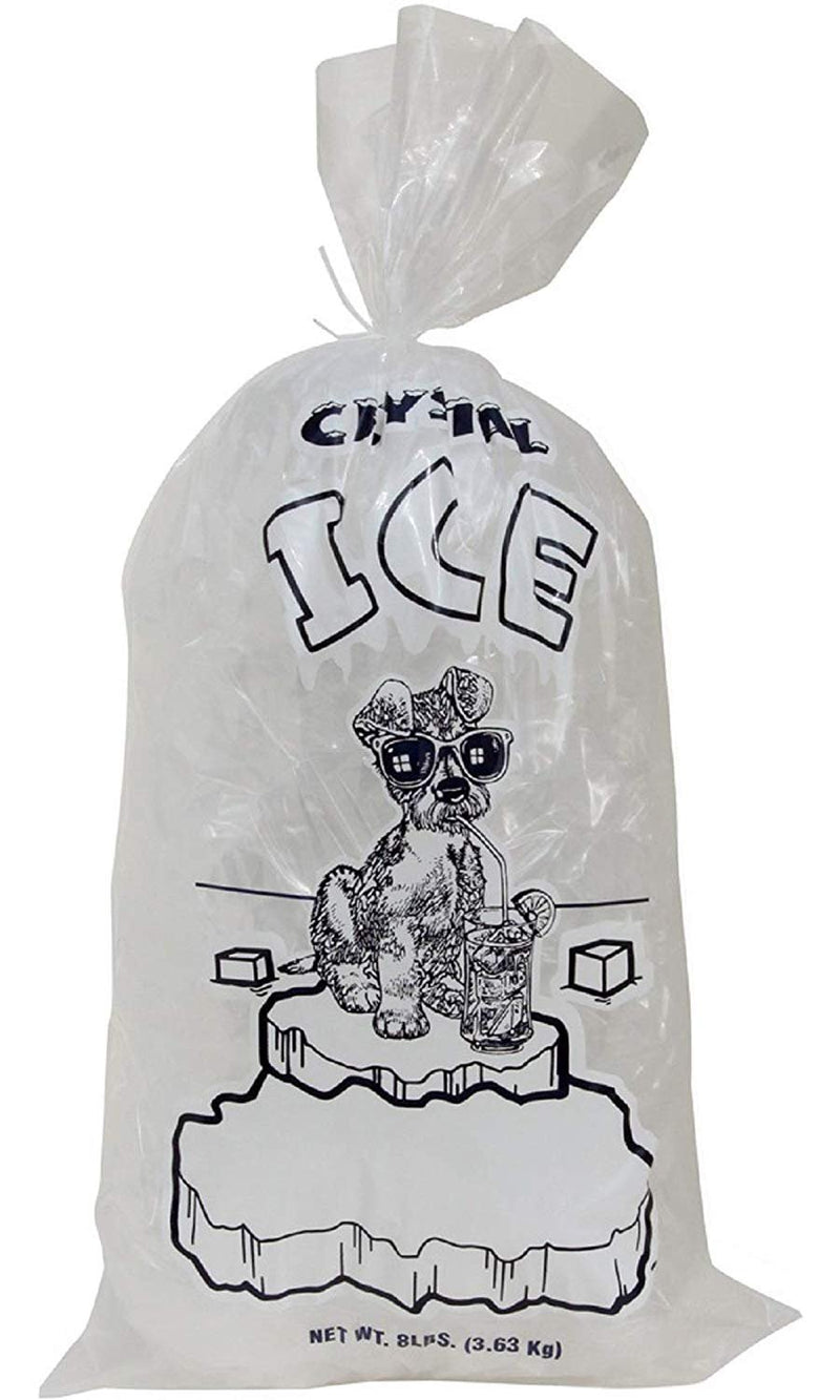 "1000 Pack Crystal Ice Plain Top Plastic Ice Bags /w Twist Ties 10"" x 20"" / 1.5 Mil / 8 Lbs"