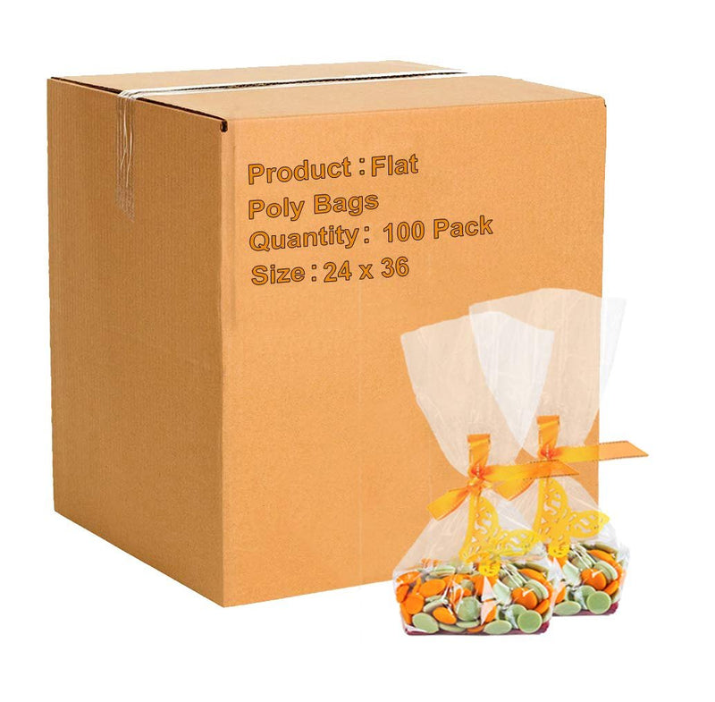 "100 Pack Clear Flat Poly Bags 24"" x 36"""