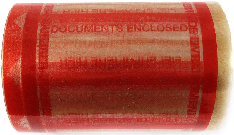 "Clear Polypropylene Film Document Pouch Tape /w Bright Orange Border Printed ""DOCUMENTS ENCLOSED"""