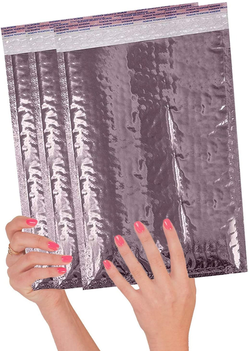 Rose Gold Heavy-Duty Glamour Mirrored Metallic Foil Self-Seal Bubble Mailers Cushion Padded Envelopes /w Peel & Seal