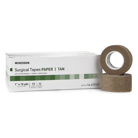 Medical Tape McKesson Paper 1 Inch X 10 Yard Tan NonSterile - 144 pack