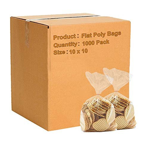 "1000 Pack Heavy Duty Clear Flat Open Top Poly Bags 10"" x 10"" 4 Mil"