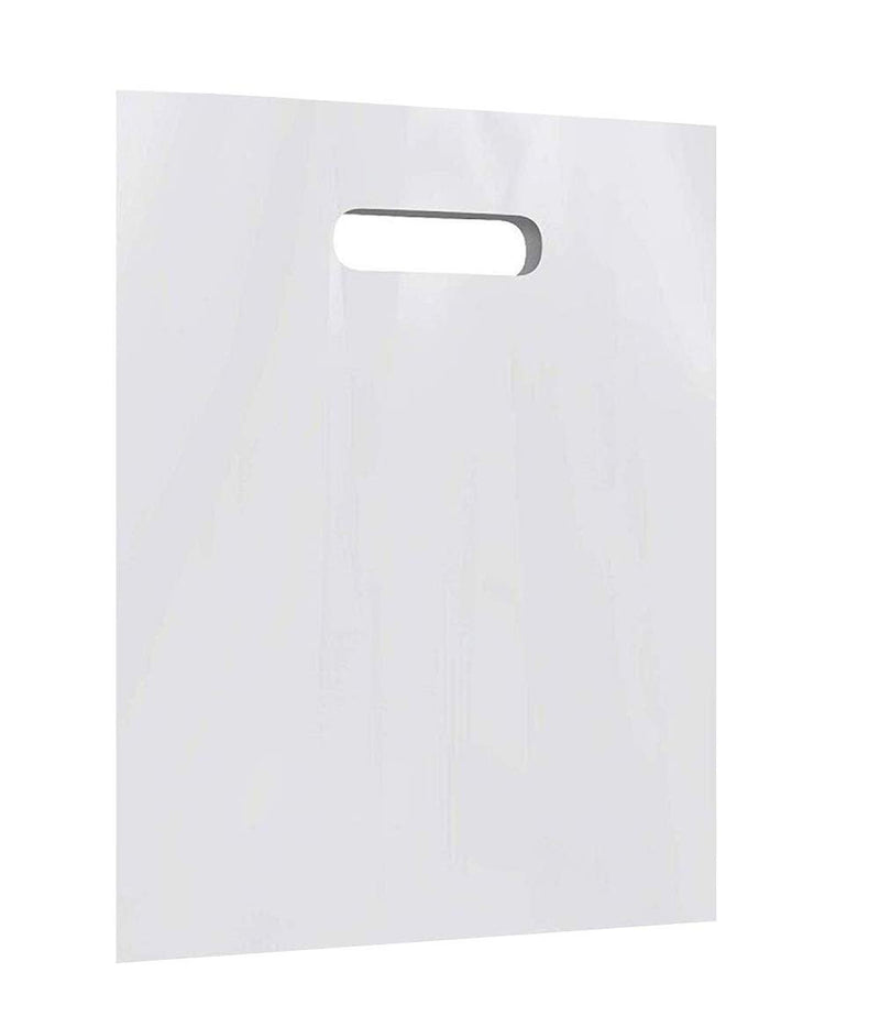 "100 Pack White Poly Shopping Bags /w Die Cut Handle 12"" x 3"" x 20"""