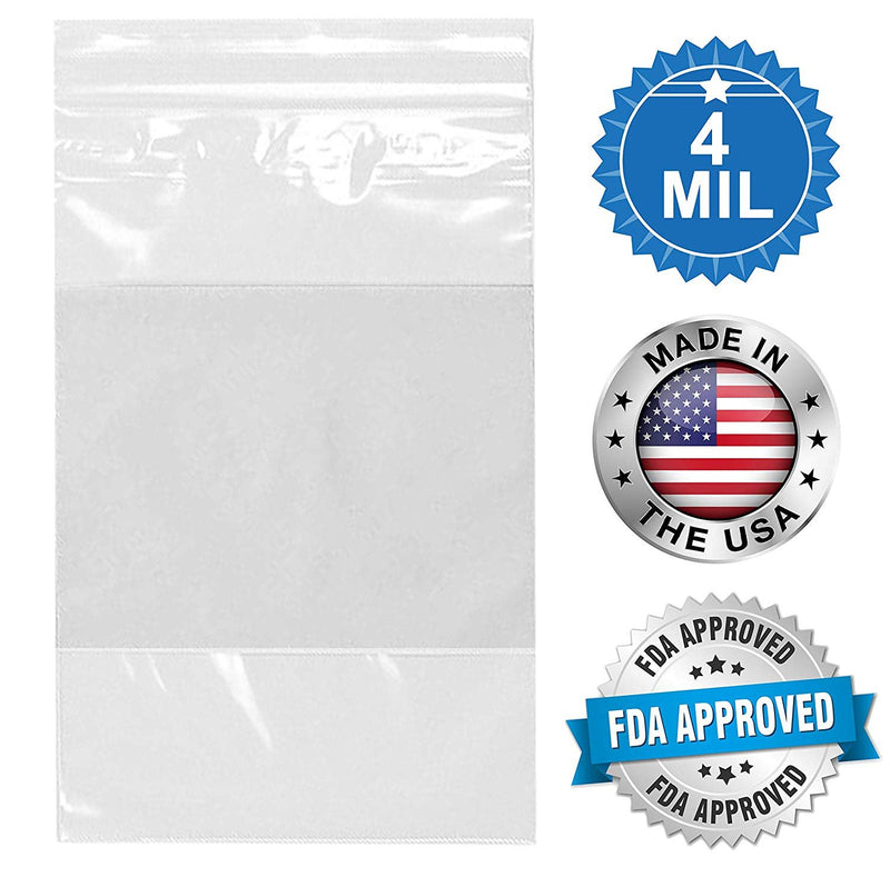 "1000 Pack Clear Poly Seal Top Bag /w Write-On Block 2"" x 3"" 4 Mil"