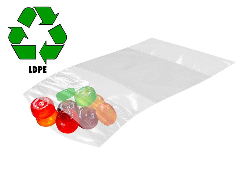 "100 Pack Clear Poly Zip Lock Bags /w Write-On Block 3"" x 4"" 4 Mil"