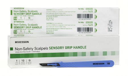 Scalpel McKesson No. 10 Stainless Steel / Plastic Sensory Grip Handle Sterile Disposable - 100 pack