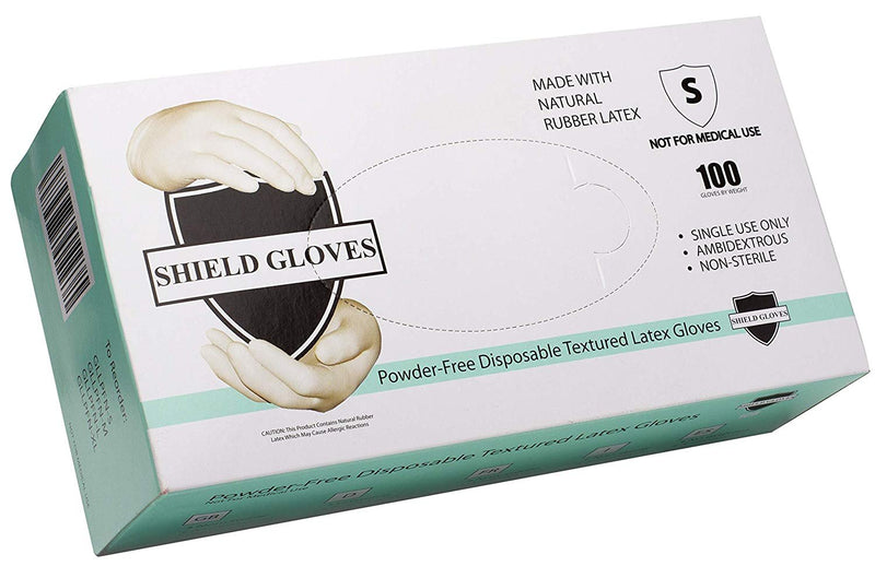 100 Pack Latex Protective Powder-Free Non-Exam Gloves Small 5.3 Mil