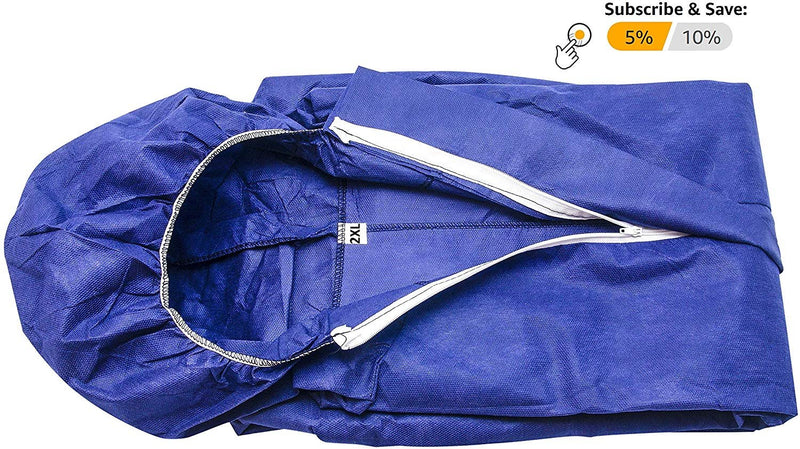 Pack Of 25 Blue Sms Coverall /w Hood, Elastic Cuffs, Ankles, Waist. Chemical Protective Coveralls. Disposable Workwear For Cleaning, Painting - AMZSupply.com
