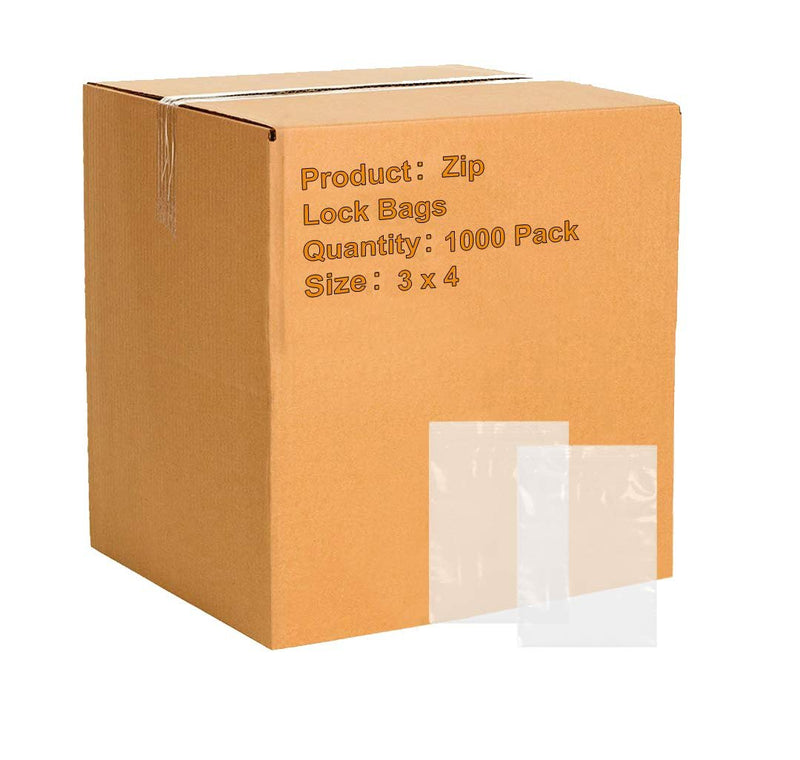 "1000 Pack Poly Zip Lock Bags 3"" x 4"""