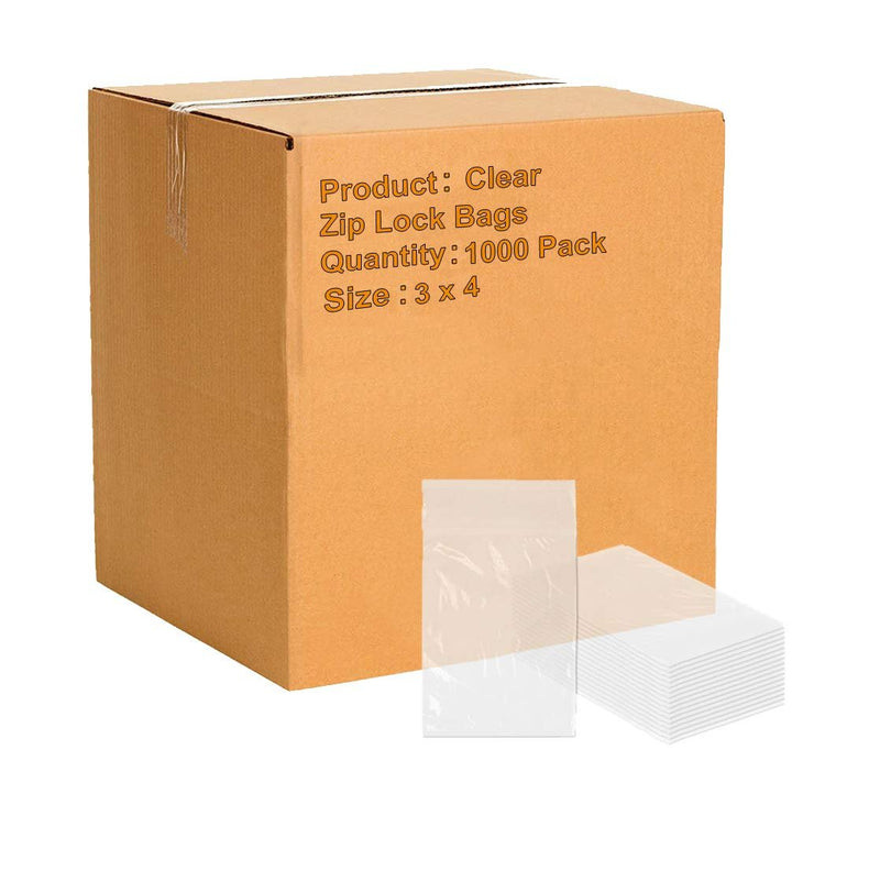 "1000 Pack Clear Low Density Poly Bags /w Hang Hole 3"" x 4"" 2 Mil"