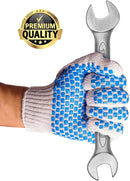 Pack Of 480 String Knit Gloves /w Blue Blocks On Two Sides L Size Knitted Cotton Polyester Gloves For General Purpose. Protective Gloves - AMZSupply.com