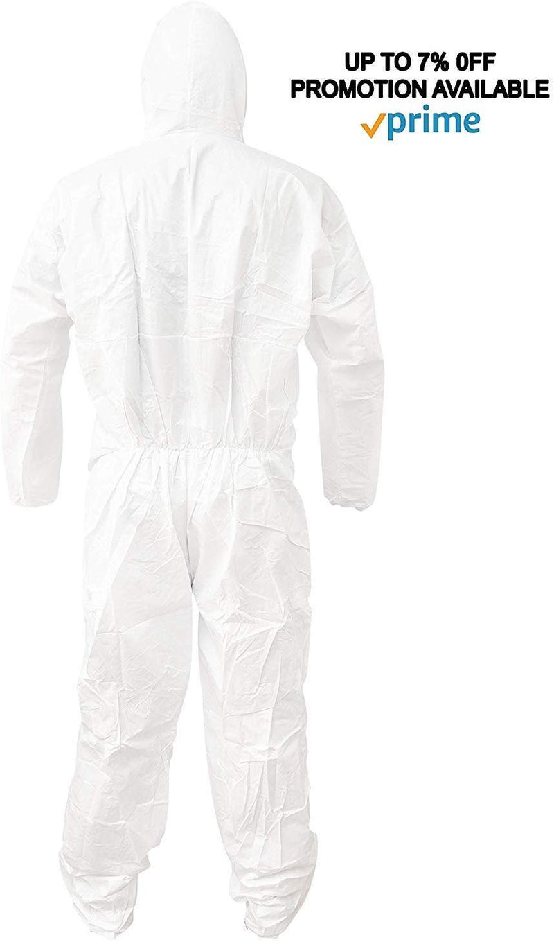 Pack Of 25 White 55G Microporous Coveralls /w Elastic Bands In Hood, Cuffs, Ankles, Waist. Heavy-Duty Protective Coveralls. Unisex Disposable - AMZSupply.com