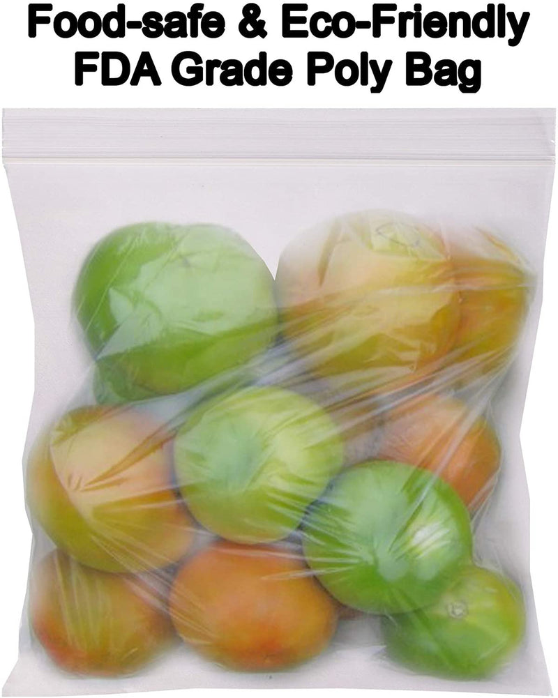 "100 Pack Clear Poly Zip Lock Bags 12"" x 12"""