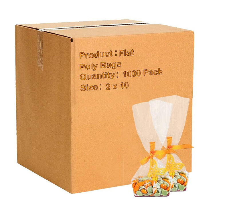 "1000 Pack Clear Flat Poly Bags 2"" x 10"" 4 Mil"