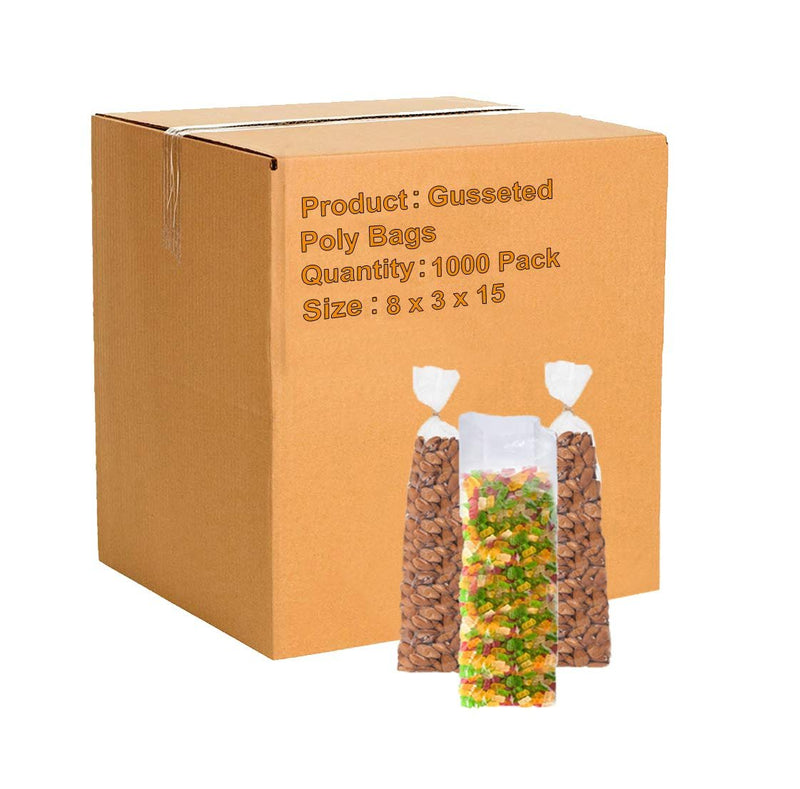 Gusseted Poly Bags 8 x 3 x 15 Clear Polyethylene Bags 2 Mil Expandable Side Gusset Bags Open Ended Bags - 1000 Pack - AMZSupply.com