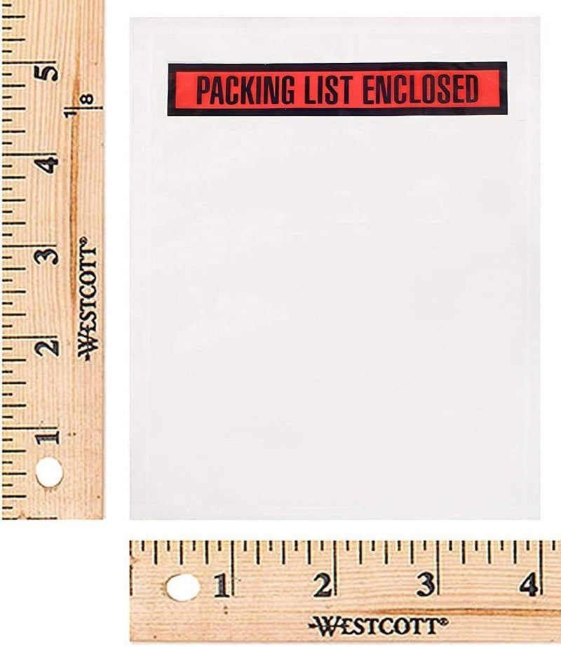Self-Sealing Packing List Envelopes 2 mil Clear /w Printed Red Panel