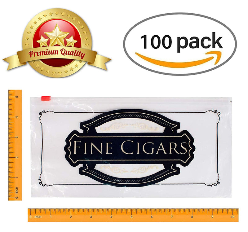 "100 Pack Clear Poly Slide Seal Lock Cigar Bags 10"" x 5"""