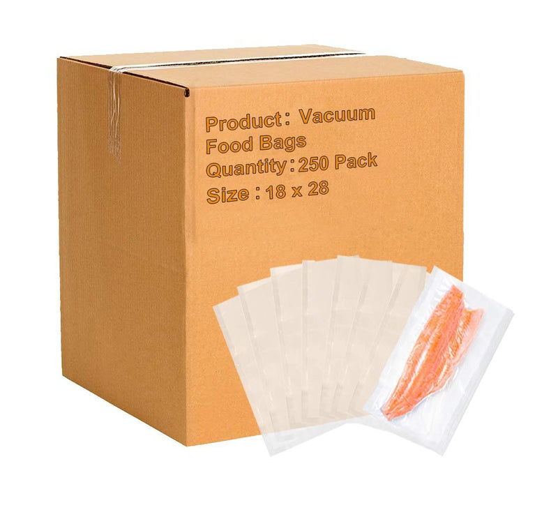 Pack Of 250 Co-Extruded Vacuum Pouches, Clear 18 X 28. Vacuum Food Bags 18X28. FDA, USDA Approved, 3 Mil Thick. - AMZ Supply
