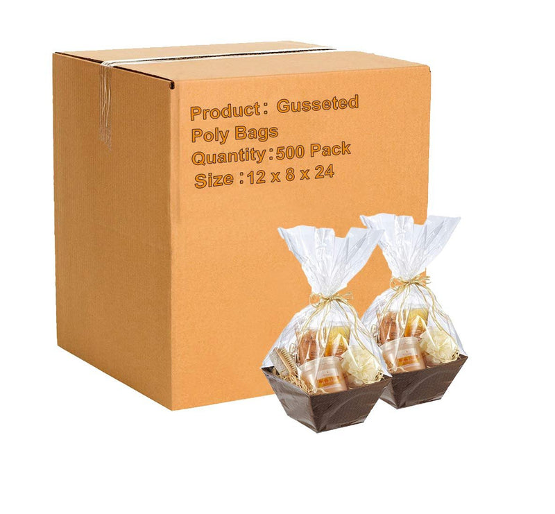 Gusseted Poly Bags 12 x 8 x 24 Clear Polyethylene Bags 2 Mil Expandable Side Gusset Bags Open Ended Bags - 500 Pack - AMZSupply.com