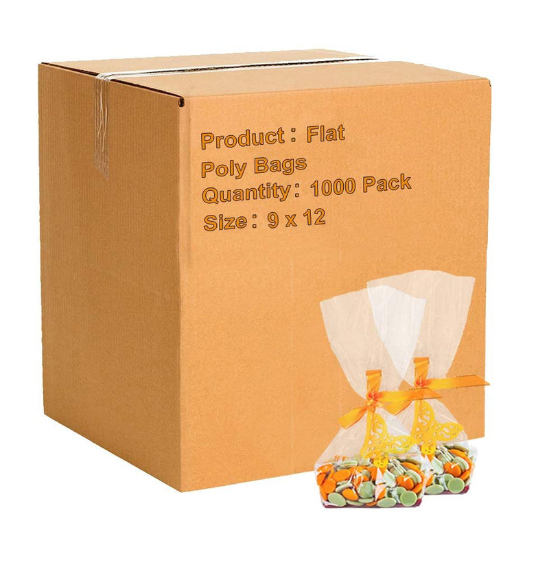"1000 Pack Clear Flat Poly Bags 9"" x 12"" 2 Mil"