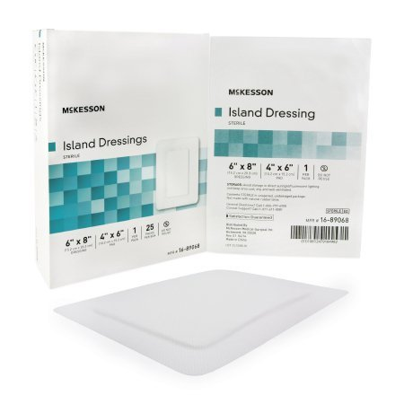 Adhesive Dressing McKesson 6 X 8 Inch Polypropylene / Rayon Rectangle White Sterile - 100 pack