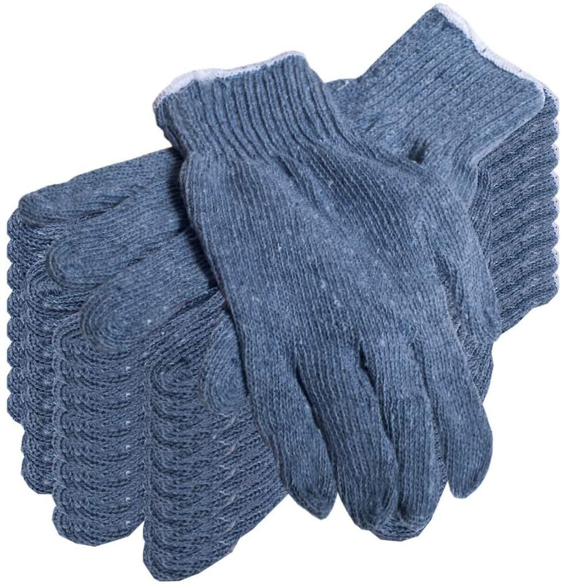 Gray Poly Cotton Gloves Elastic Knit Wrist Regular Weight 12 Pack - AMZSupply.com