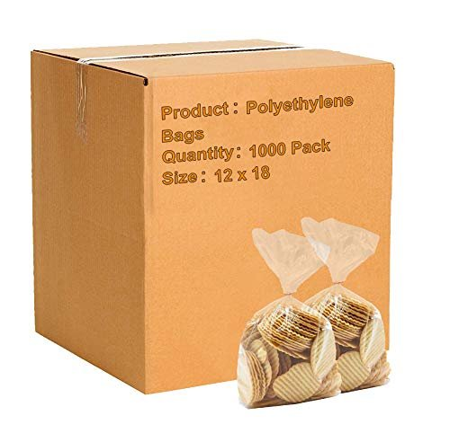 "1000 Pack Clear Flat Poly Bags 12"" x 18"" 2 Mil"