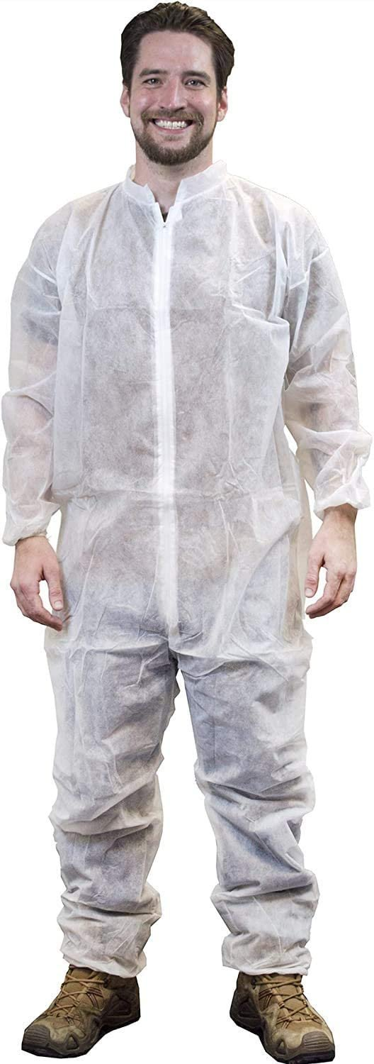 White Adult Coverall X-Large Anti-Static Fabric Apparel with Zipper Front Entry - Unisex