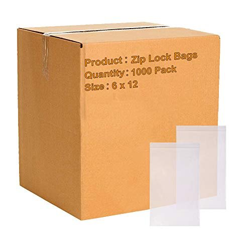 "1000 Pack Clear Poly Zip Lock Bags 6"" x 12"""