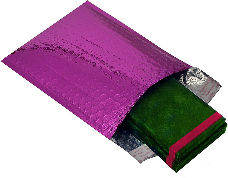 "25 Pack Purple Glamour Metallic Foil Self-Seal Bubble Mailers Cushion Padded Envelopes /w Peel & Seal 6.5"" x 9"""