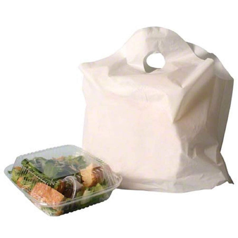 Pack Of 500 White Take Out Bags With Wave Top Handle 21 X 18 + 10 Bg. Unprinted Merchandise Bags 21X18. Retail Shopping Goodie Plastic Bags - AMZ Supply
