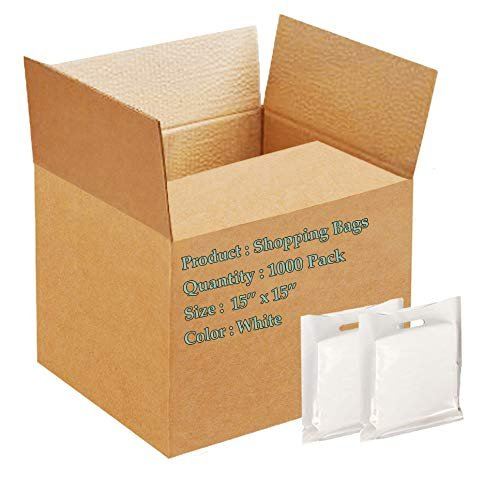 "1000 Pack White Poly Shopping Bags /w Die Cut Handle 15"" x 15"""