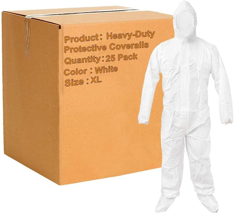 Pack Of 25 White 55G Microporous Coveralls /w Boot, Hood, Elastic Cuffs, Ankles, Waist. Heavy-Duty Protective Coveralls. Unisex Disposable Workwear - AMZSupply.com